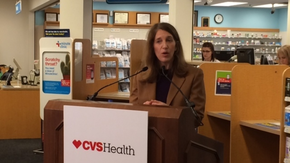 HHS Secretary Sylvia M. Burwell visits a CVS pharmace in Lakewood to promote enrollment in the federal marketplace.