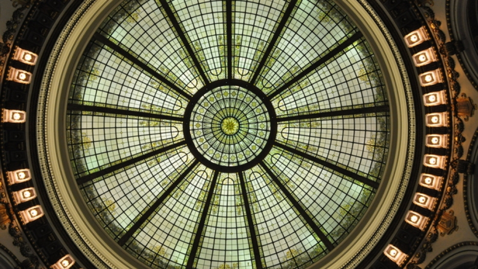 Chairs and tables will be placed directly under the 60 ft diameter stained glass dome, which is 85ft above the main floor.