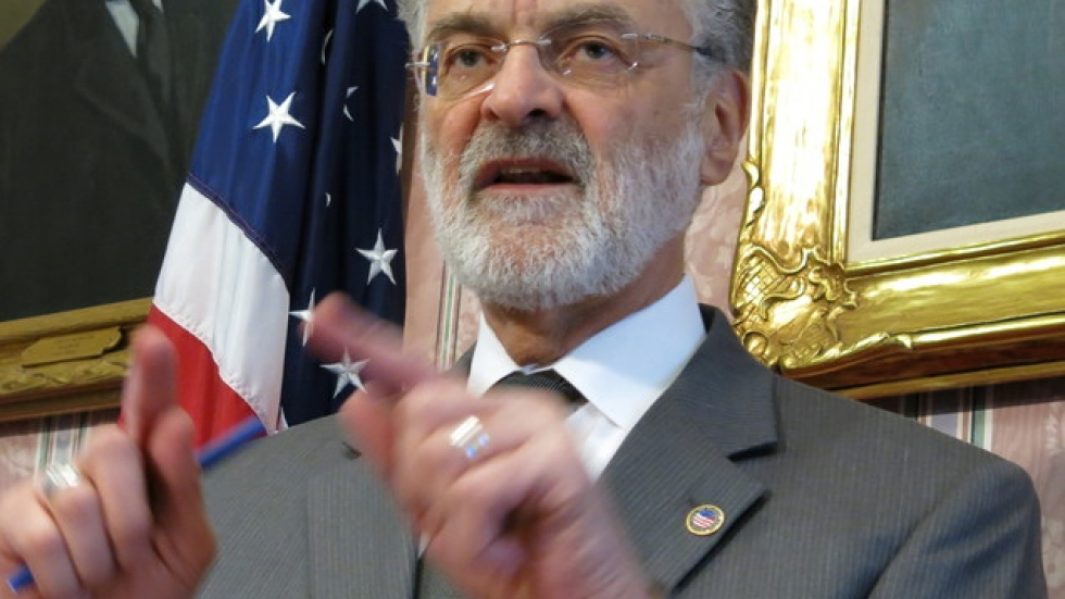 Mayor Frank Jackson speaking with reporters Friday.