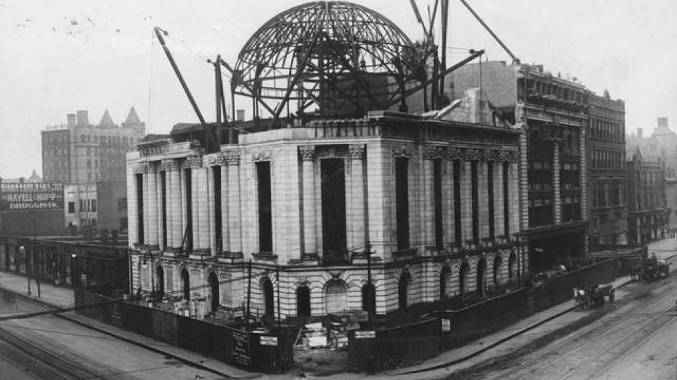 Cleveland Library Collection photo of the construction in 1906.