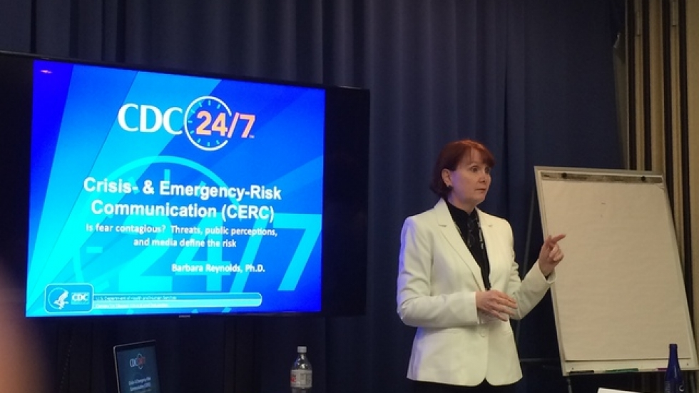 The CDC's Barbara Reynolds speaks about Ebola at a conference for journalists in Washington D.C.
