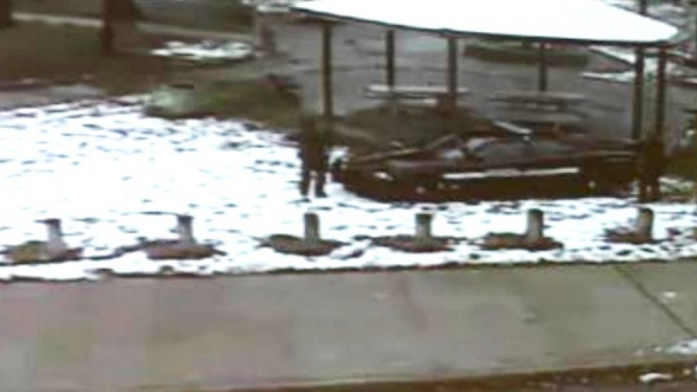 A freeze-frame from surveillance video showing a Cleveland police officer shooting Tamir Rice.