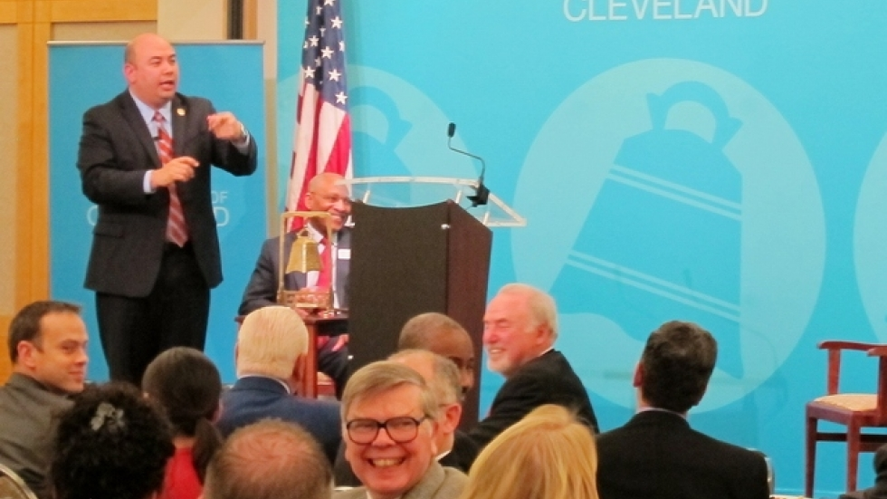 Ohio House Speaker Cliff Rosenberger at the City Club.  Bill Batchchelder, with blue tie, is in the audience.
