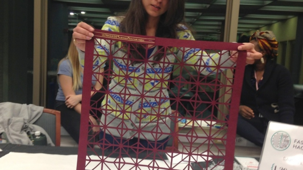 Fashion student Preena Suri shows what a laser cutter can do with fabric.
