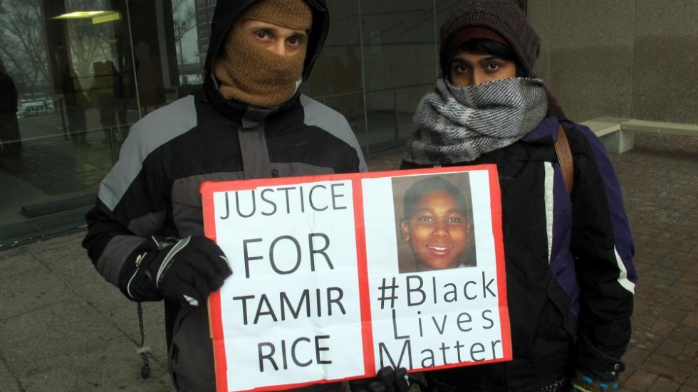 Today's protest outside the Justice Center (photo: Brian Bull/ideastream)