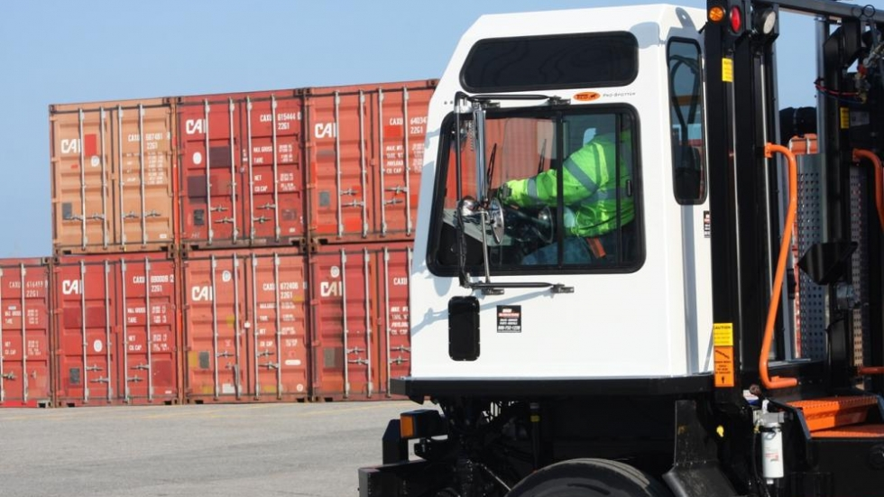 Cargo truck at Port of Cleveland (photo: Brian Bull/ideastream)