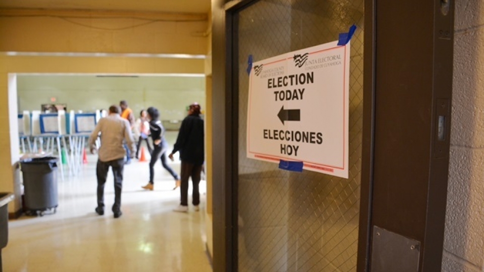Voters walk into a polling place in Cleveland's Central neighborhood.