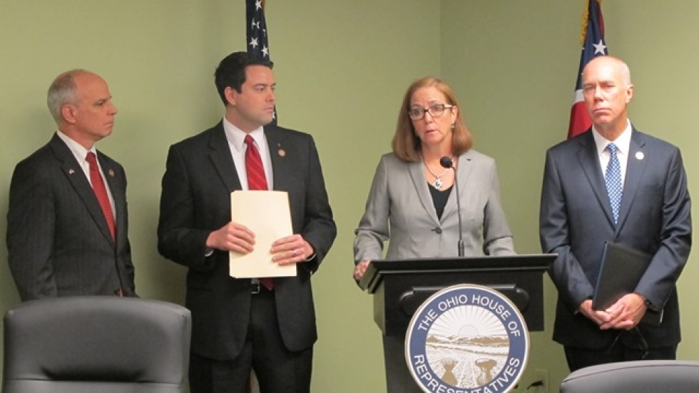 Left to right: GOP State Reps. Kyle Koehler, Robert McColley, Barbara Sears and Timothy Ginter discuss the legislation.
