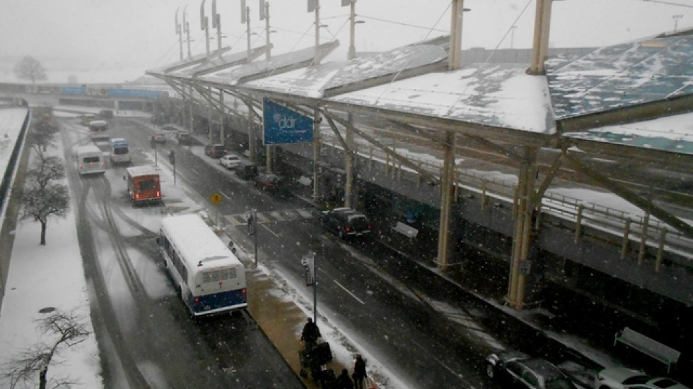 Snow falls on Cleveland-Hopkins airport in 2012.