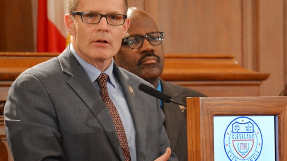 City Council President Kevin Kelley speaks at a 2014 news conference. Behind him is Councilman Kevin Conwell.