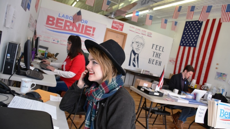 Brittany Dobish makes calls for Bernie Sanders in a Lakewood office.