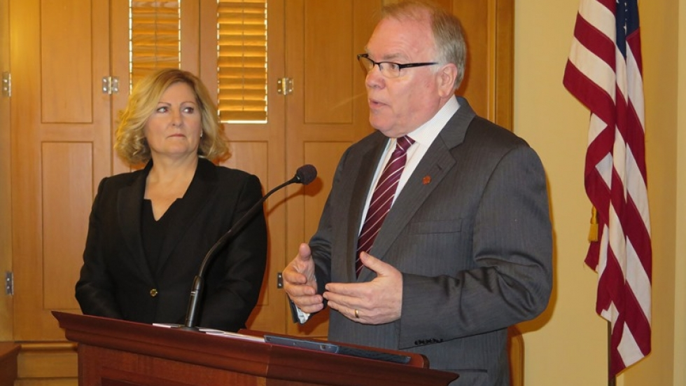State Rep. Teresa Fedor, left, and A. J. Wagner, right, speak to media.