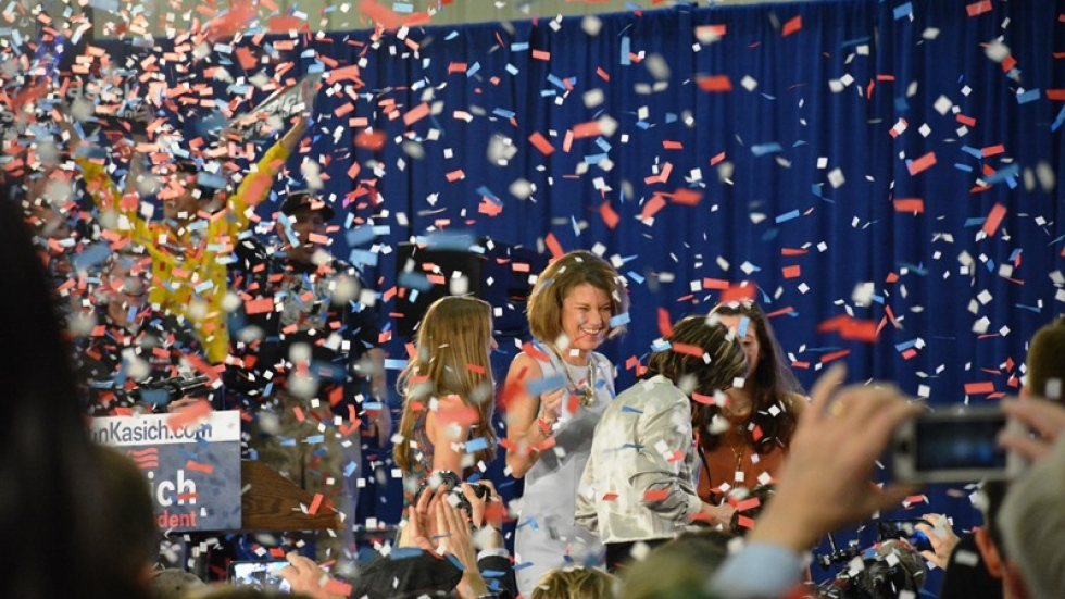 Karen Kasich and family celebrate her husband's primary election win.