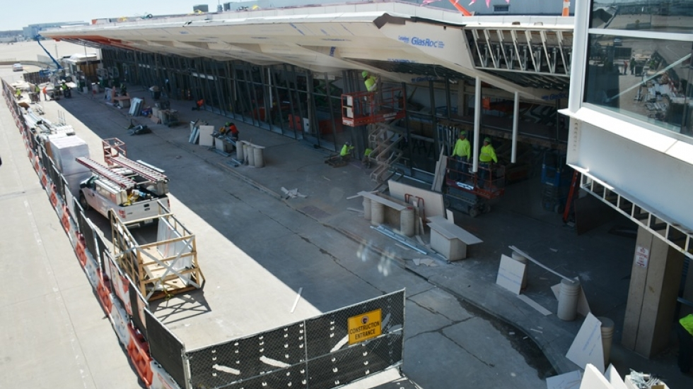 Work continues on the airport's facade.