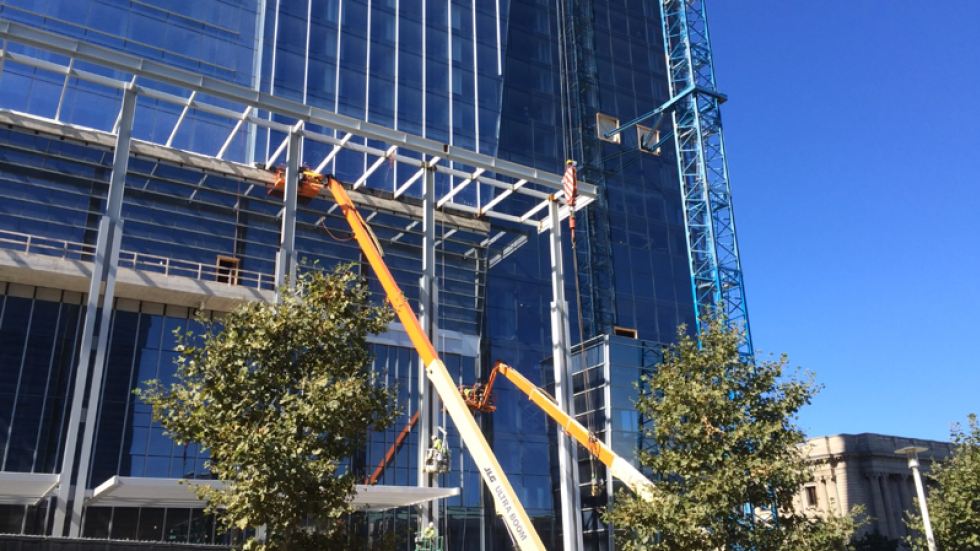 In September 2015, construction continues on the county-owned hotel.