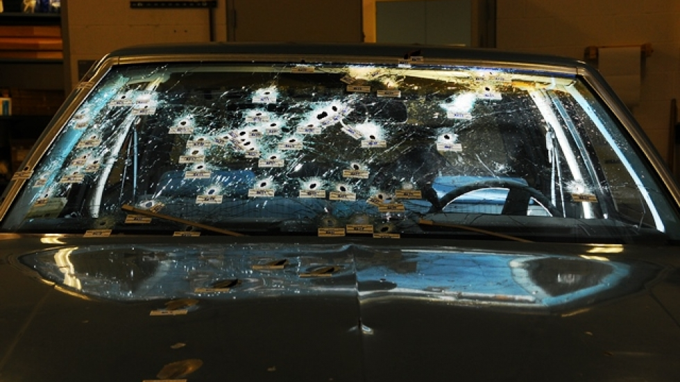 Police fired 137 gunshots at Timothy Russell's Chevy Malibu, photographed by the Ohio Bureau of Criminal Investigation.
