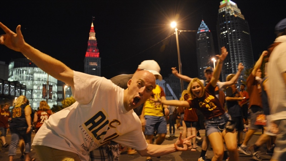 Cavs fans celebrate the NBA title in downtown Cleveland.