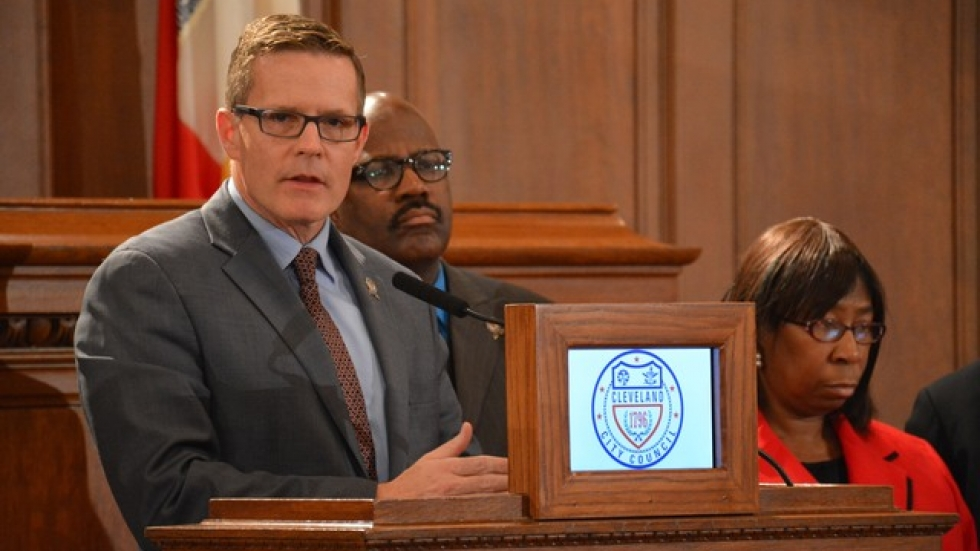 Kevin Kelley, president of Cleveland city council, speaks at a 2014 news conference.