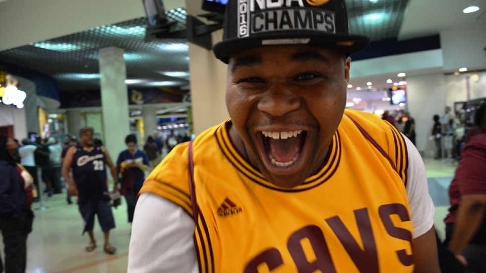 A Happy Cavs Fan Cheers