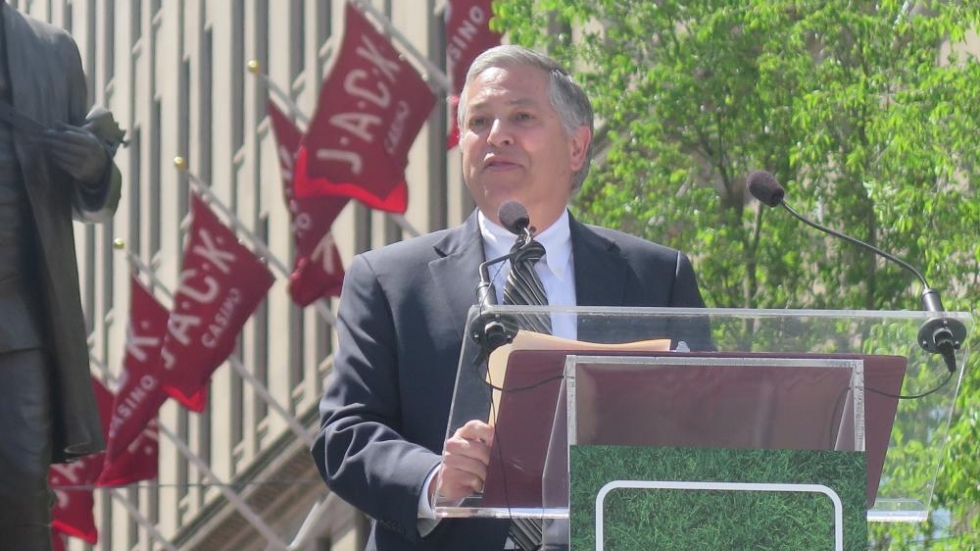 Cuyahoga County Executive Armond Budish addresses the crowd at the Public Square reopening ceremony. [photo: Dante Sudilovsky / ideastream]
