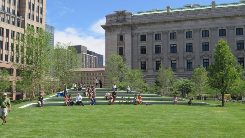 The lakeside of Public Square features a swath of green space for picnicking and frisbee. [photo: Phoebe Petrovic / ideastream]