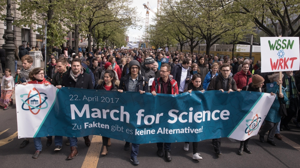 """Demonstrators participate in the March for Science in Berlin. The March for Science organizers have said their own events are nonpartisan, and the overarching mission is to """"[champion] robustly funded and publicly communicated science as a pillar of human freedom and prosperity."""""""