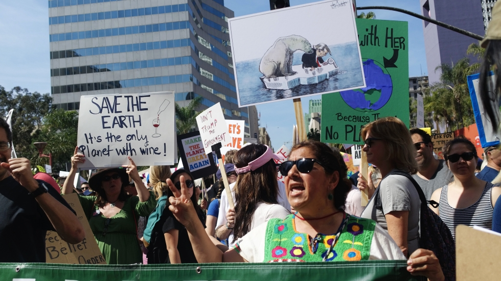 Yolanda Gonzalez, a sixth-grade teacher of Pomona, Calif., demonstrates as part of the March for Science in downtown Los Angeles.