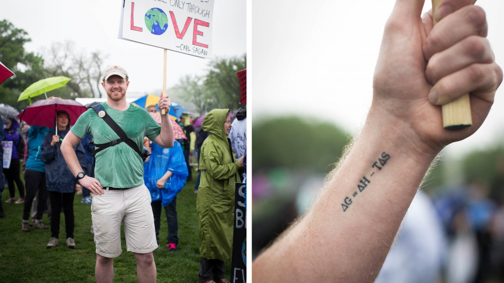 Brad Slocum researches forms of ceramics that allow for more efficient spacecraft. He says he's such a fan of one late 19th century scientist named Josiah Gibbs, that he tattooed Gibbs' free energy equation on his arm.