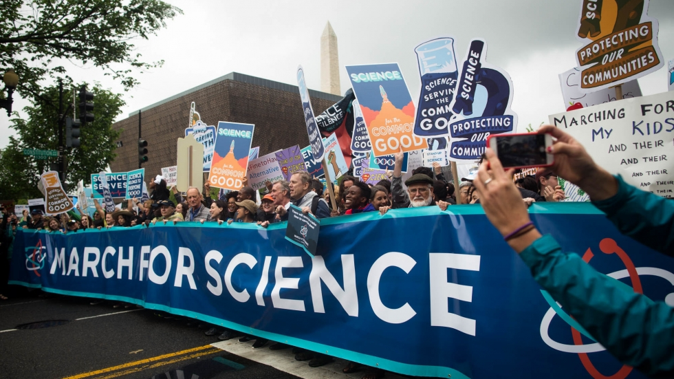 Participants in the March for Science walk along Constitution Avenue in Washington, D.C., on Saturday.