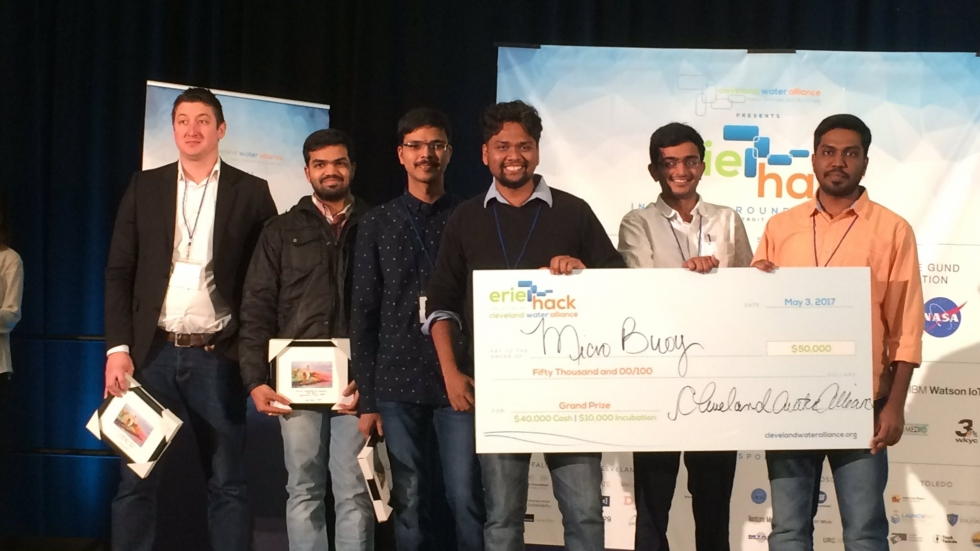 Grand prize winners Micro Buoy from Wayne State University in Detroit