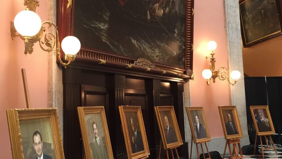 Portraits of all seven Speakers of the Ohio House, going back to 1967.