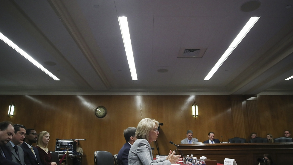 Education Secretary Betsy DeVos testified on Capitol Hill on Tuesday.