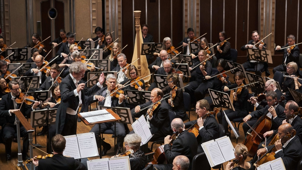 The Cleveland Orchestra, with its music director Franz Welser-Möst, at Severance Hall, the orchestra's home since 1931.