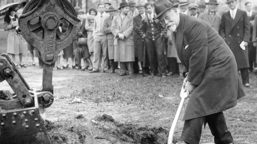 John L. Severance breaks ground in 1929 for the Cleveland Orchestra concert hall that would bear his name. Severance Hall was completed in 1931.