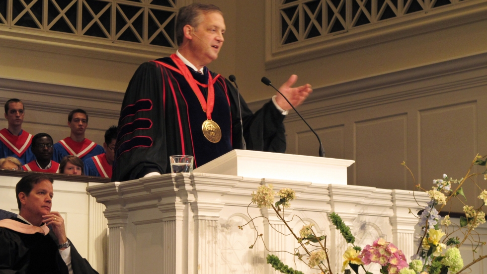 Southern Baptist Theological Seminary President R. Albert Mohler, Jr. speaks at the school's convocation ceremony in 2013. Mohler, who has led the seminary for 25 years, commissioned a report on the role racism and support for slavery played in its origin and growth.