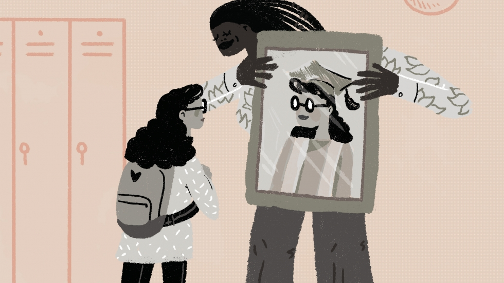 Illustration of a black student and a black teacher holding up a mirror showing the student in a cap and gown. [LA Johnson / NPR]