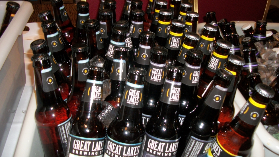 Bottles of Great Lakes Brewing Co., which is produced in Cleveland, at the Craft Brewers Conference in Columbus.
