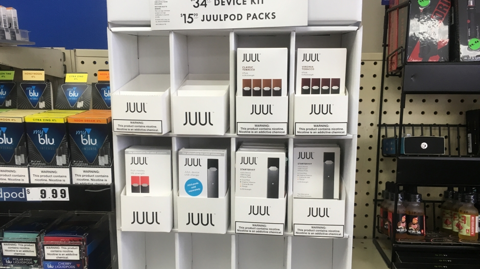 Juul pods and starter packs at a Summit County smoke shop.