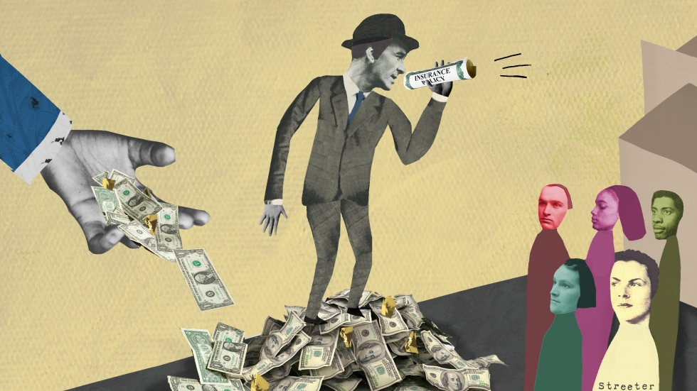 Illustration of man speaking through a roll of money as a hand pours money at his feet.