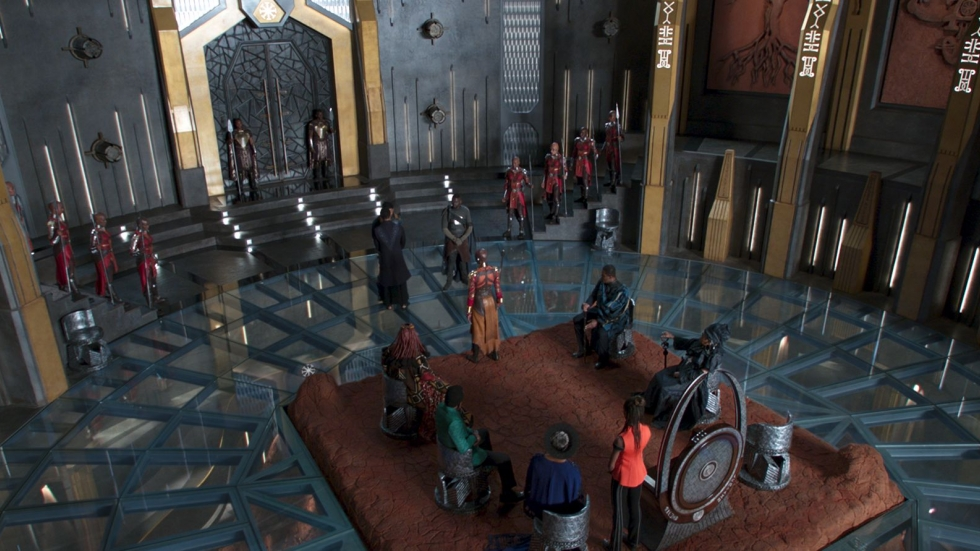 "The Wakandan throne room in ""Black Panther."""