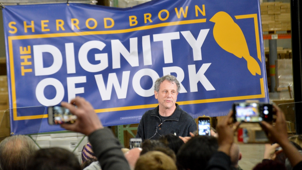 Sherrod Brown at the kickoff of his Dignity of Work tour in Ohio. In his announcement, he said that the goal of the tour was to highlight the issues affecting working Ohioans.