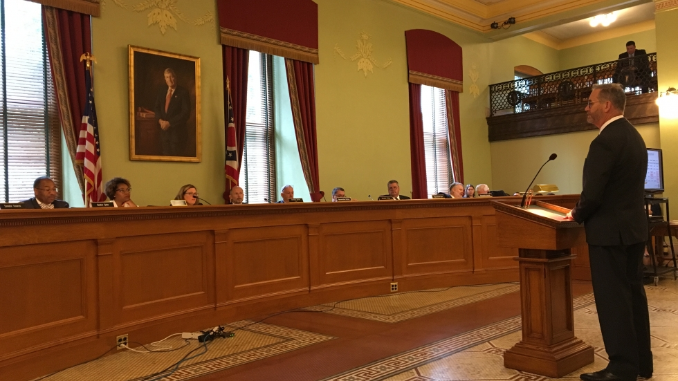 Attorney General Dave Yost, then the state auditor, testified to state lawmakers about a report on pharmacy benefit managers and Medicaid in August 2018.