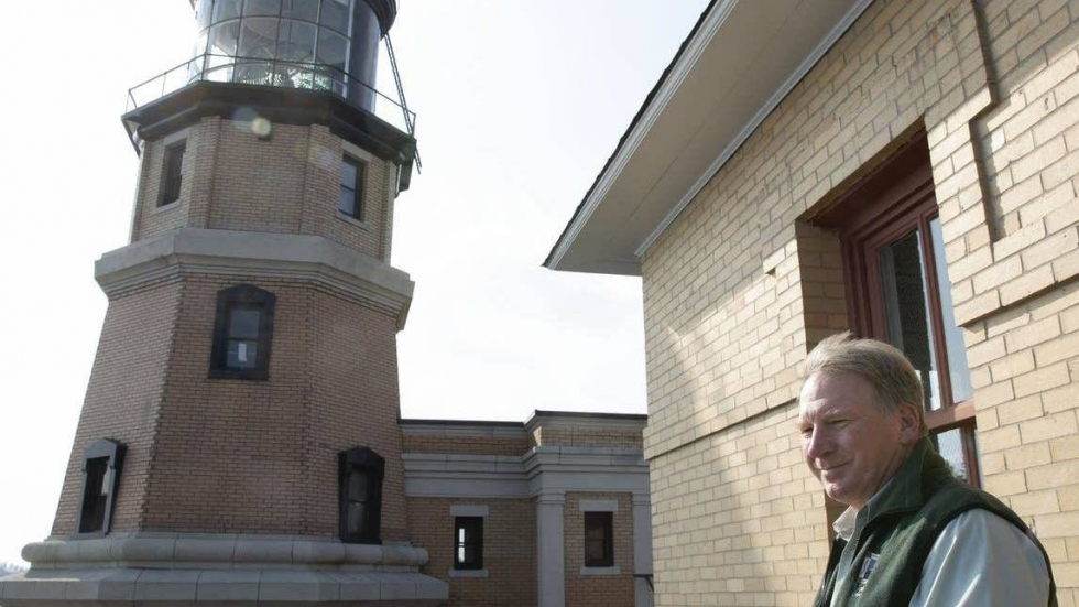 Lee Radzak looks over the Lake Superior at Split Rock Lighthouse located near Two Harbors, Minn. Radzak will retire this month after 36 years as the longest-serving manager of the iconic Minnesota lighthouse.