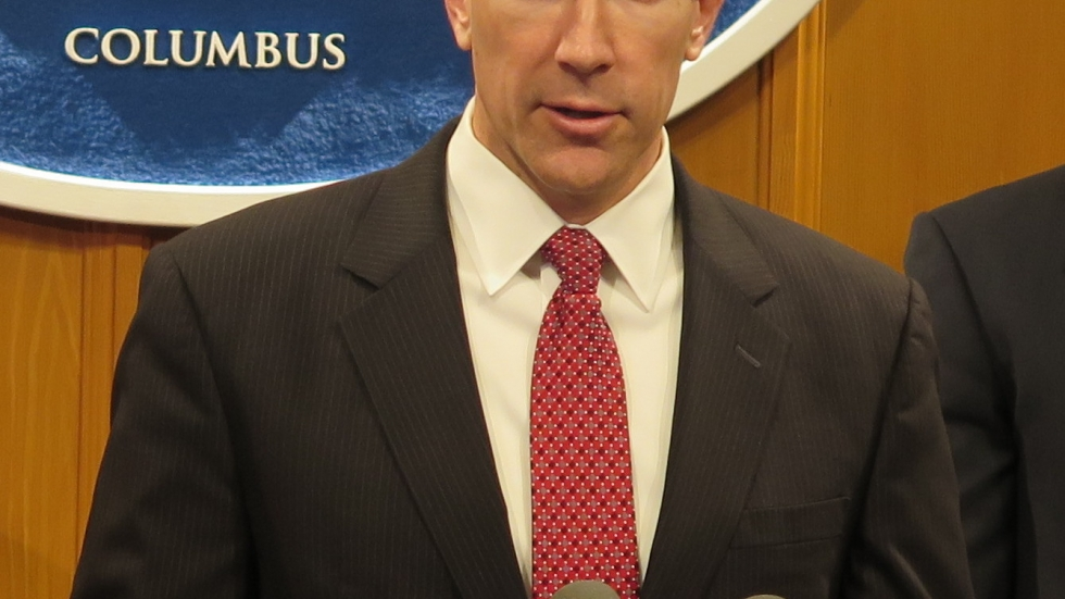 Rep. Jim Butler (R-Oakwood) speaks to reporters at a press conference in 2017.