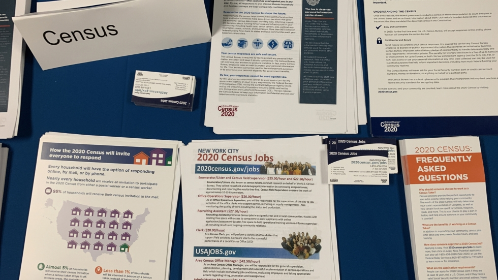 Flyers and pamphlets about the 2020 census are laid on a table.