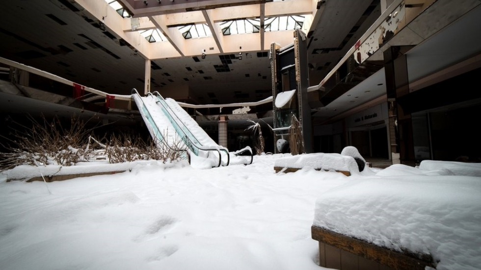 Photographer Johnny Joo photographed an abandoned Rolling Acres Mall with a layer of snow.