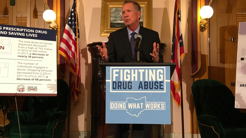 John Kasich, during his last year as Ohio governor, discusses the fatal opioid overdose rate.