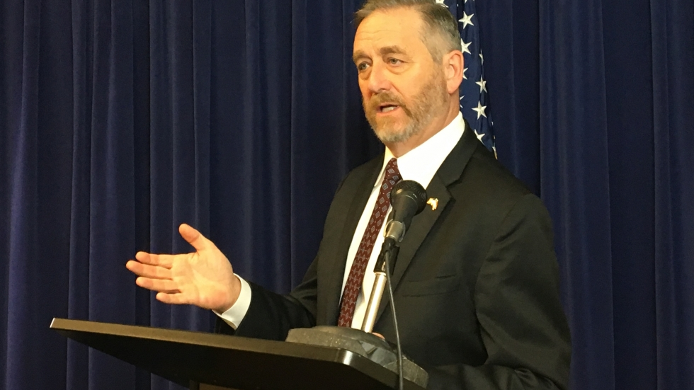 Attorney General Dave Yost speaks to reporters at a press conference in April 2019.