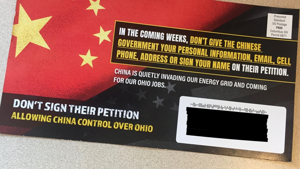 Flier distributed by Ohioans For Energy Security