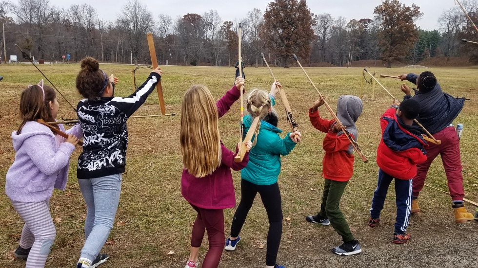 Atlatl spear throwing is a big hit with elementary school children who visit Fort Ancient on field trips.